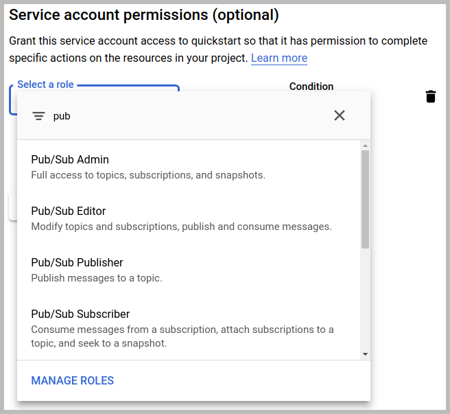 """El cuadro de diálogo de los permisos de cuenta de servicio con la string """"pub"""" para filtrar las funciones de Pub/Sub"""
