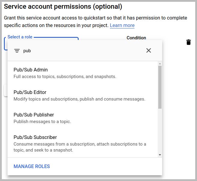"""Caixa de diálogo de permissões da conta de serviço, usando a string """"pub"""" para filtrar os papéis do Cloud Pub/Sub"""