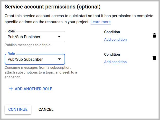 El cuadro de diálogo de los permisos de cuenta de servicio, con Publicador de Pub/Sub y Suscriptor de Pub/Sub, si se hace clic en el botón Continuar