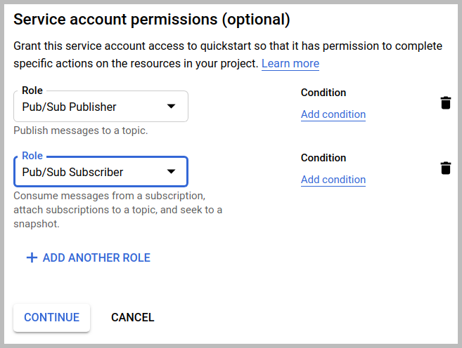 The Service account permissions dialog, with Pub/Sub Publisher and Pub/Sub subscriber, clicking the Continue button