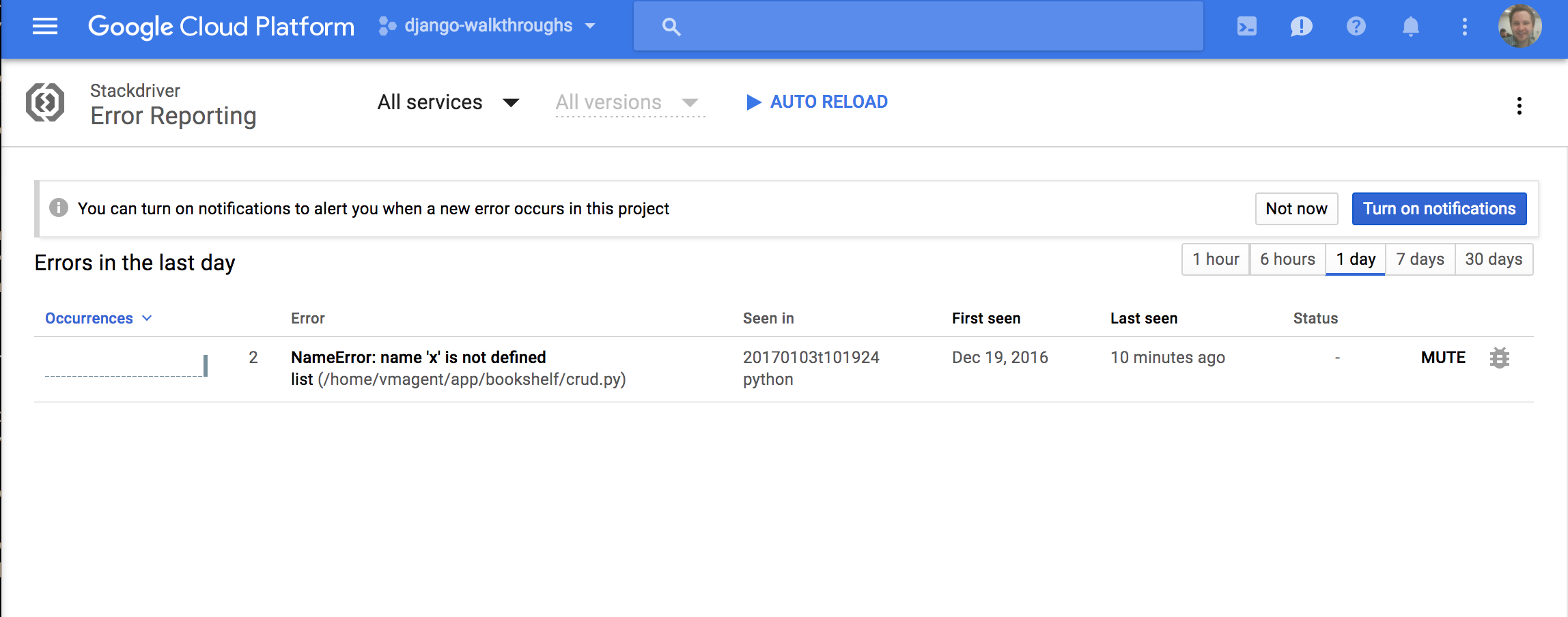 Reporting errors | Python | Google Cloud
