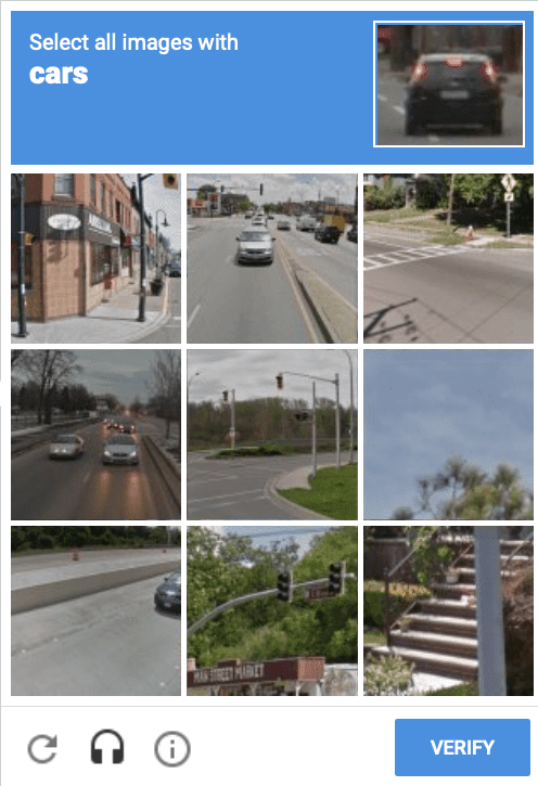 Un ejemplo de desafío de CAPTCHA