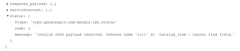 Log detailed view for JSON error