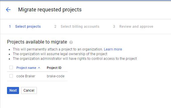 """Página """"Migrar projetos"""""""