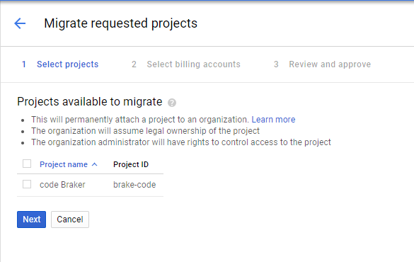 Migrate projects page