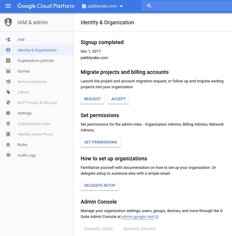 UI de l'assistant de configuration de l'organisation