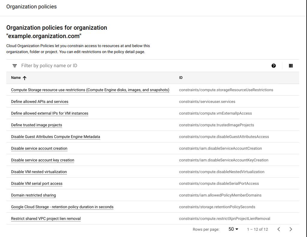 Lista de restricciones de la política de la organización que se pueden filtrar por nombre de la política o ID.