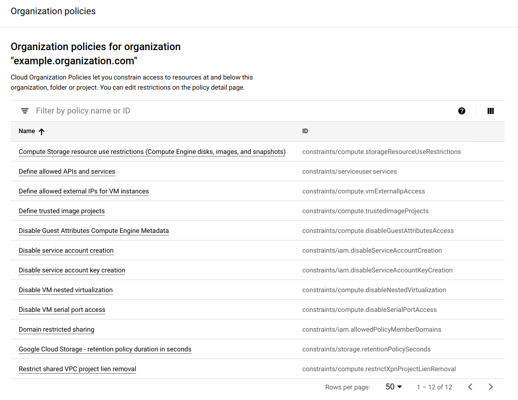 List of organization policy restraints that is filterable by policy name or ID.