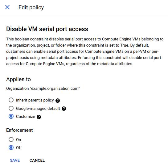 Opção de personalização selecionada nas políticas de edição.
