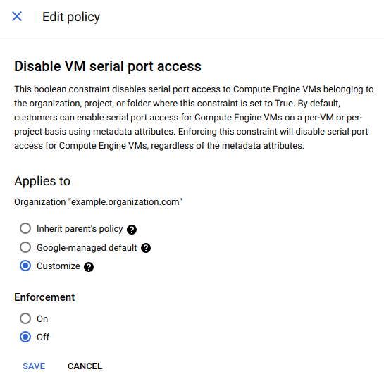 Customize option selected in edit policies.