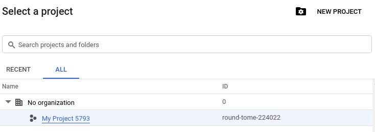 Captura de tela do seletor de projetos