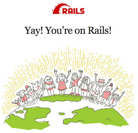 Screenshot of new Rails app running