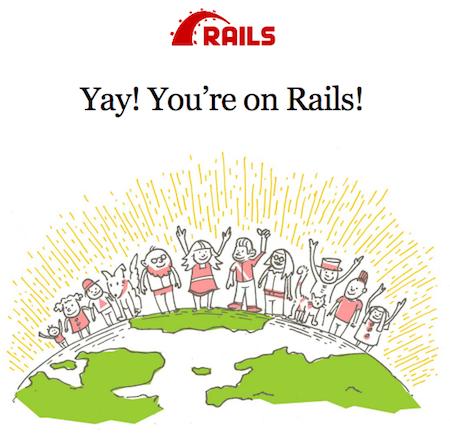 Captura de tela do novo aplicativo do Rails em execução