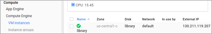 Captura de pantalla de la instancia de VM