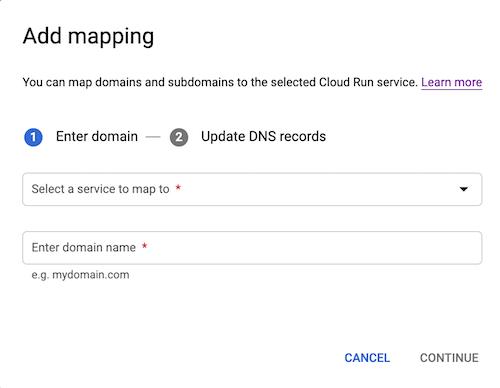 Adicionar mapeamentos de domínio