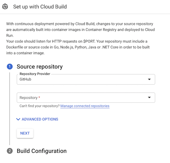 Set up with Cloud Build page