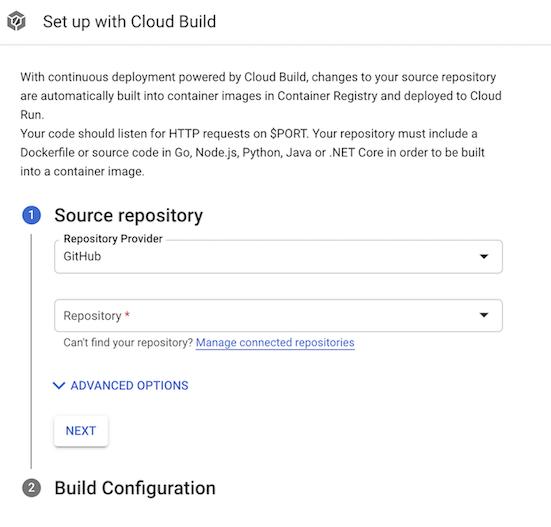 Configurar com a página do Cloud Build