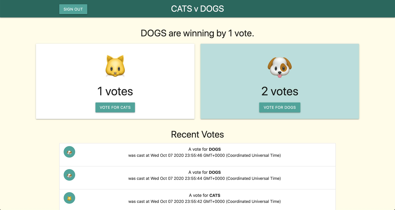 Capture d'écran de l'interface utilisateur qui indique le nombre de votes pour chaque équipe, ainsi qu'une liste de votes.