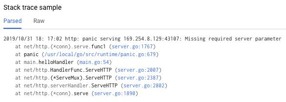 Captura de pantalla de un único seguimiento de pila analizado que muestra un perfil común de este error.
