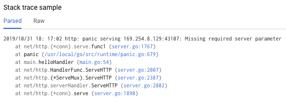 Screenshot of a single parsed stack trace, demonstrating a common profile of this error.