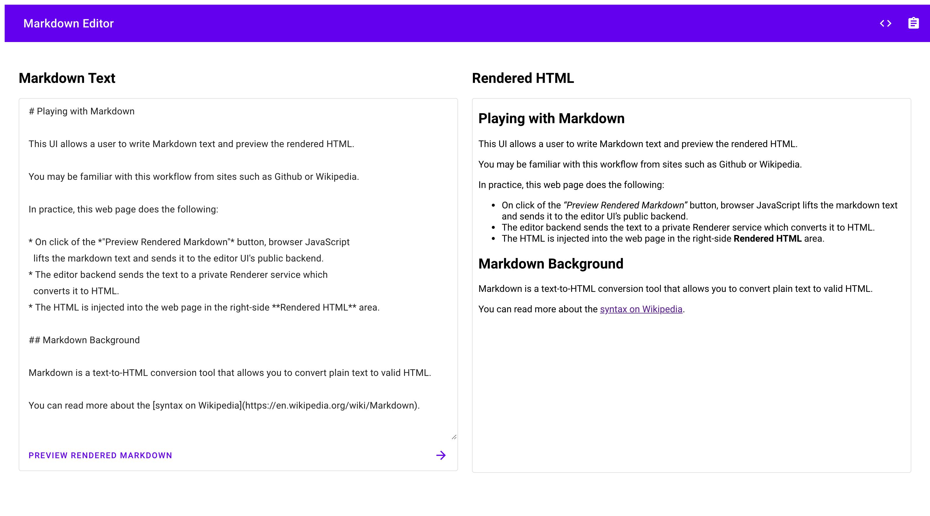 Captura de tela da interface do usuário do Markdown Editor