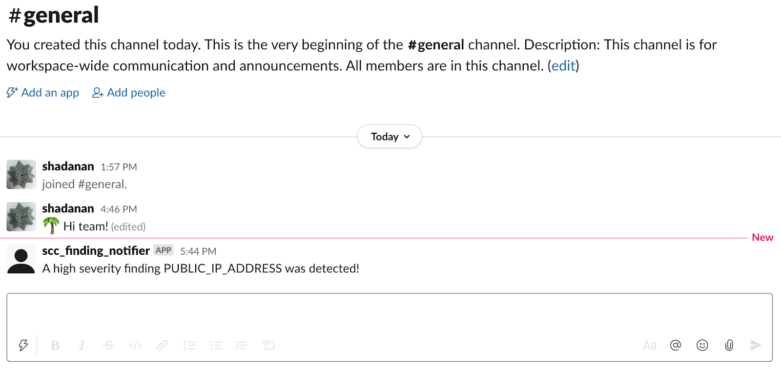 Notificação do Slack