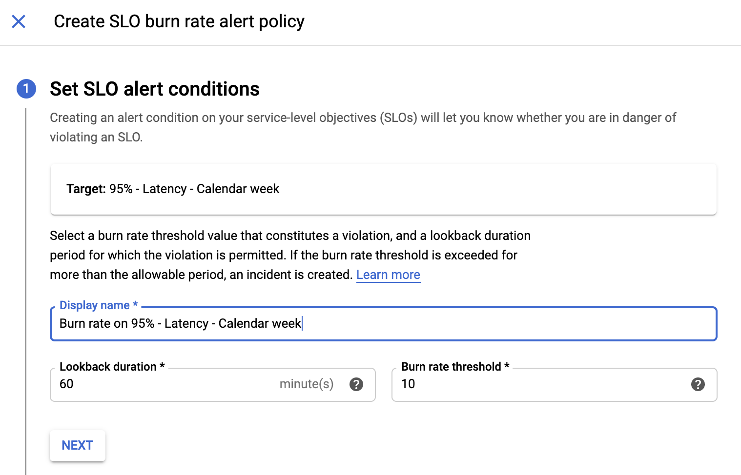 Screenshot of the Cloud Monitoring add condition dialog box.