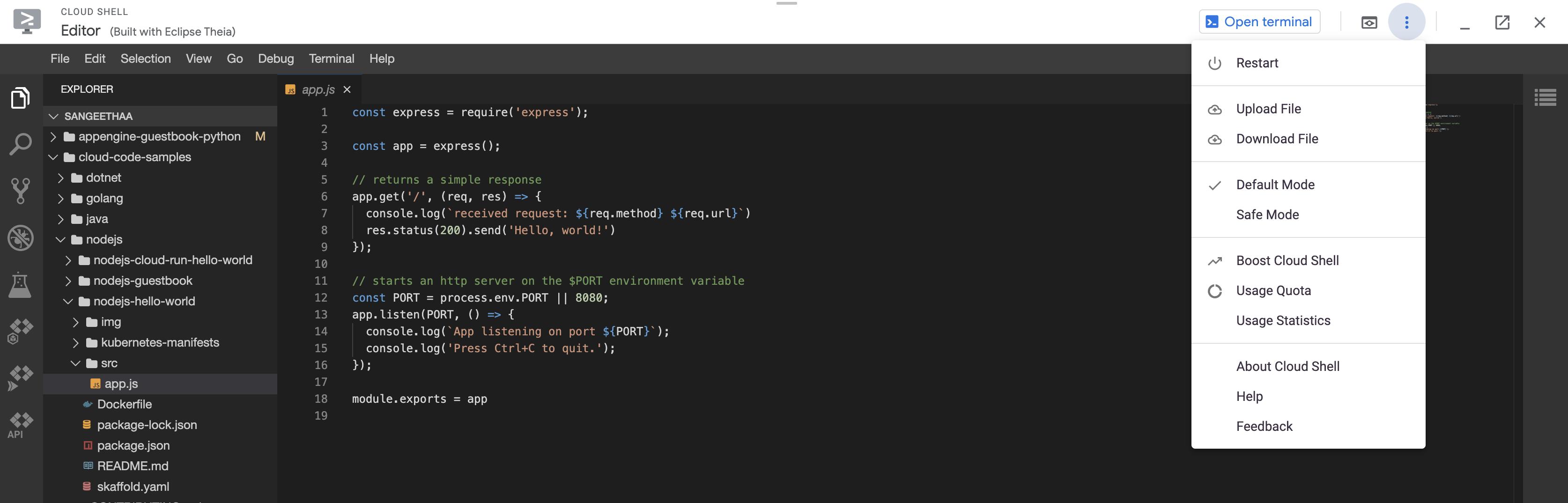 Session CloudShell avec éditeur de code