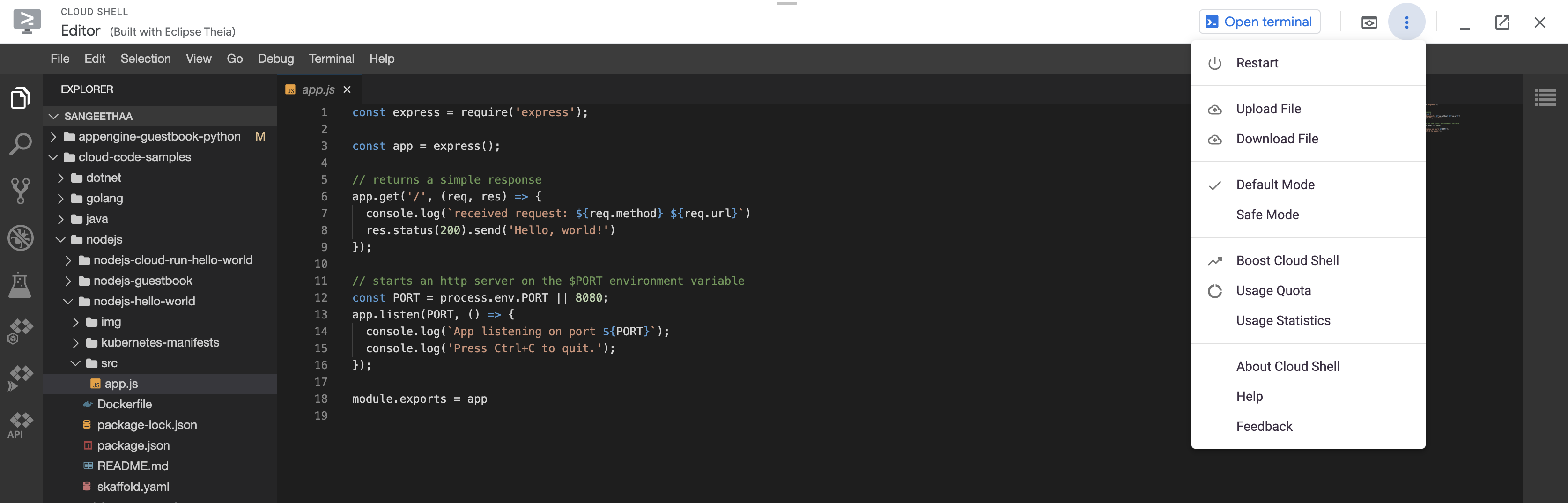 Cloud Shell 和編輯器工作階段