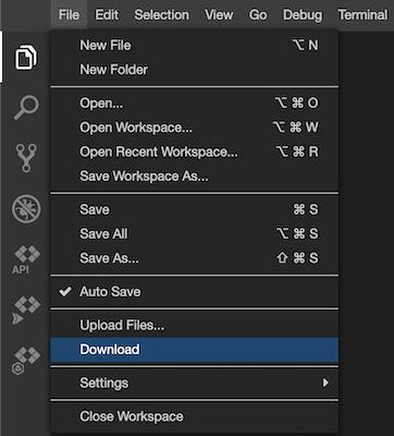 """Arbeitsbereich mit der Option """"Herunterladen"""" im Dateimenü herunterladen"""