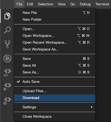Descarga el lugar de trabajo mediante la opción Descargar del menú de archivos