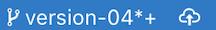 現在のマスター ブランチを表しているブランチ インジケーターを含む Git ステータスバーと隣のパブリッシュ アクション