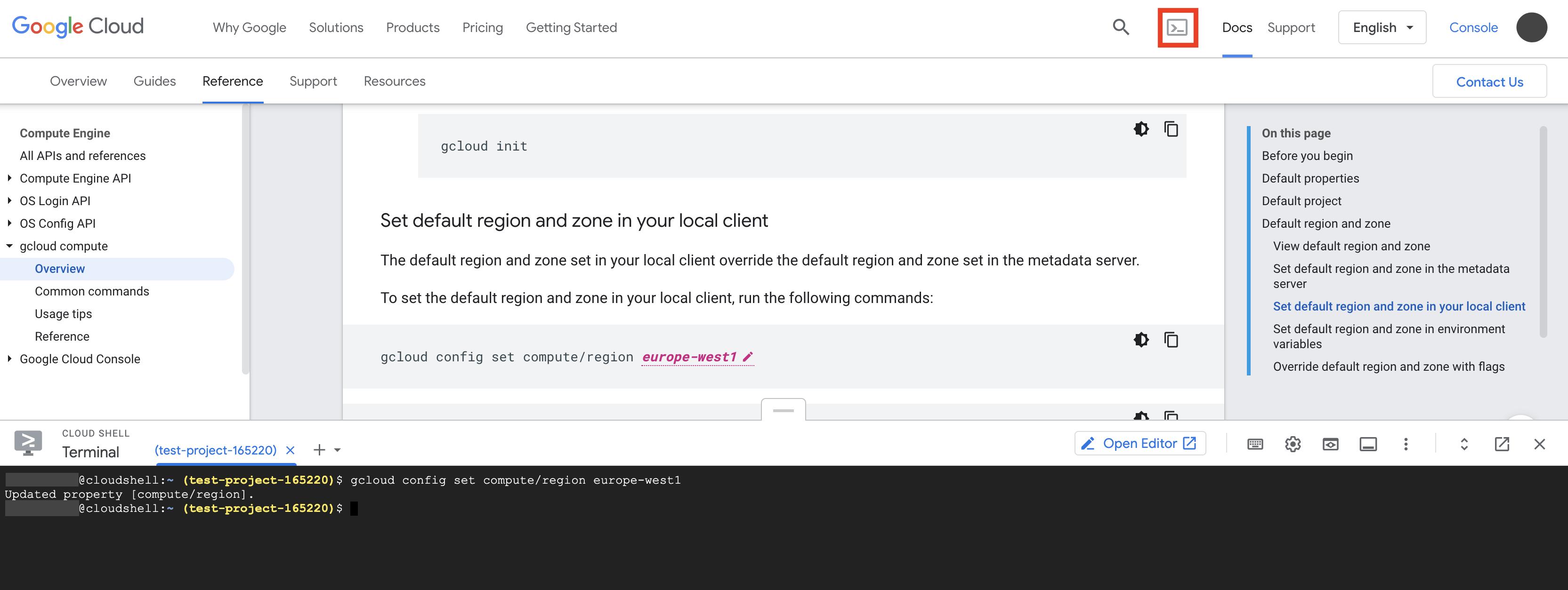 Cloud Shell-Terminal wird in der unteren Hälfte der Dokumentationsseite gestartet und enthält ein Beispiel für gcloud-Befehl, das in das Cloud Shell-Terminal kopiert wurde.