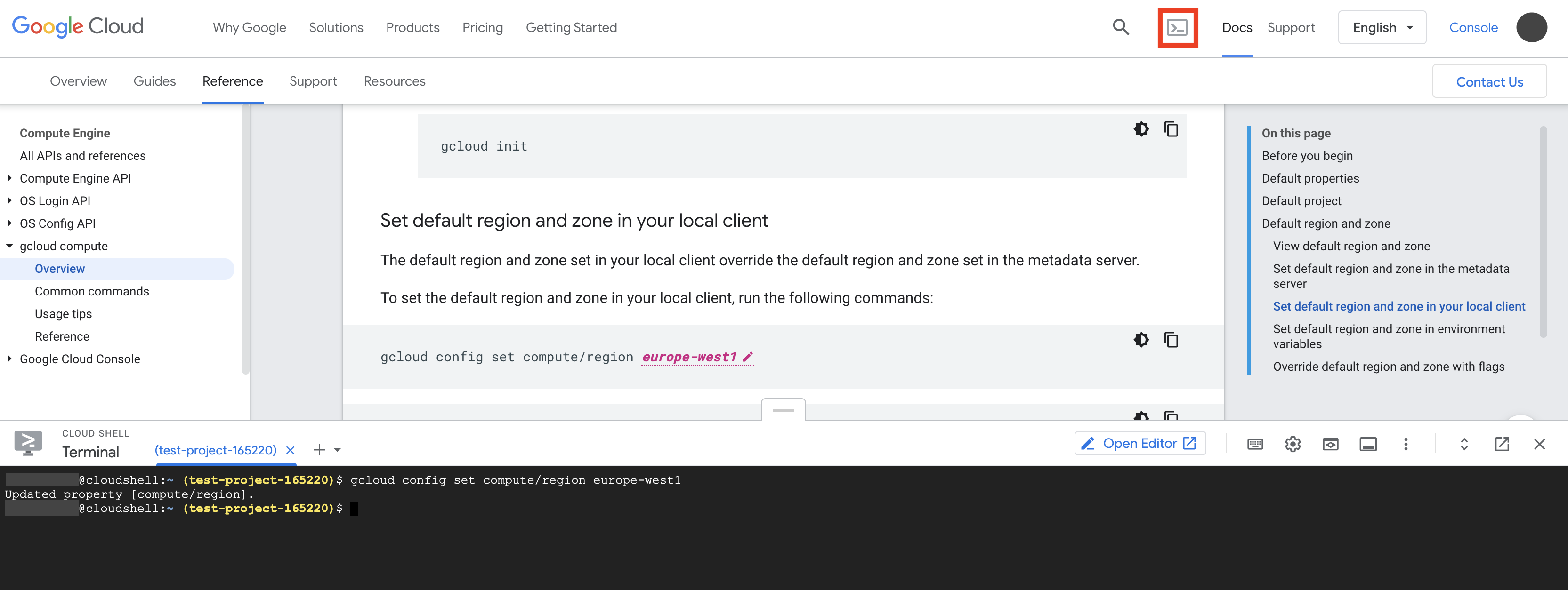 Cloud Shell 终端在文档页面的下半部分启动,并将 gcloud 命令示例复制到 Cloud Shell 终端