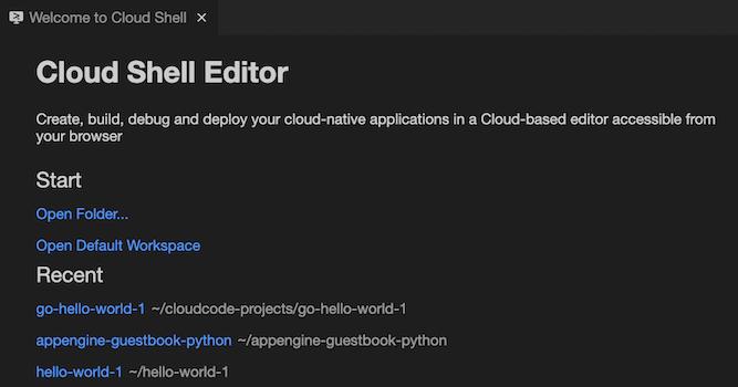 [Recent] の下にある、利用可能な最近開いたワークスペース(hello-world-1 や appengine-guestbook-python など)リンク付きの名前をクリックすると、エクスプローラでワークスペースが開きます。