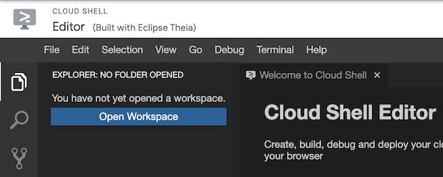El botón para abrir el lugar de trabajo, disponible en el explorador, cuando no hay espacios de trabajo abiertos