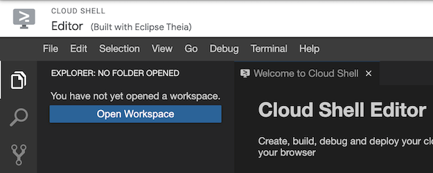 현재 열려 있는 작업공간이 없을 때 탐색기에서 액세스할 수 있는 작업공간 열기 버튼