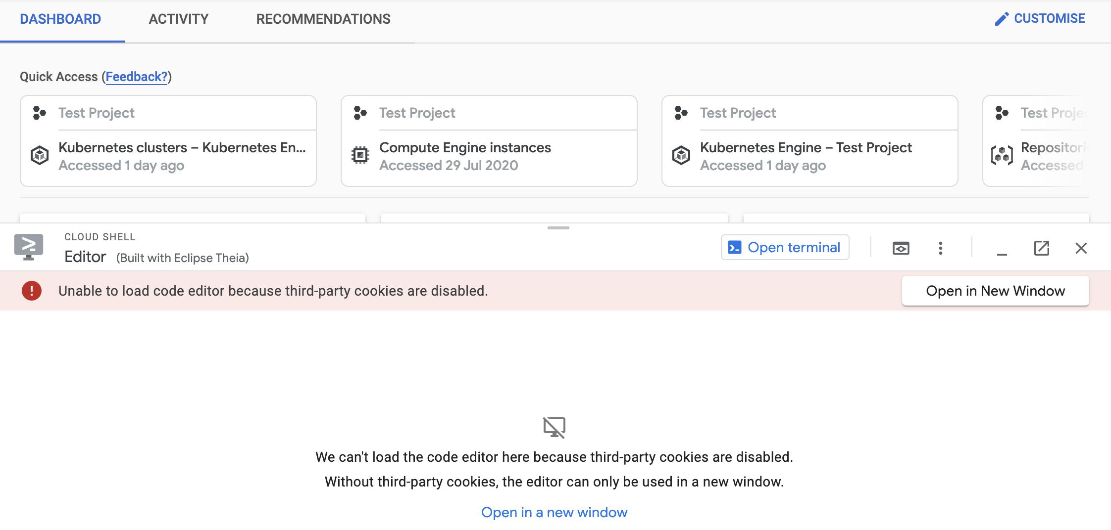 Painel do editor explicando que não foi possível carregar o editor de código por causa do bloqueio de cookies de terceiros, com link para abrir o editor em uma nova janela