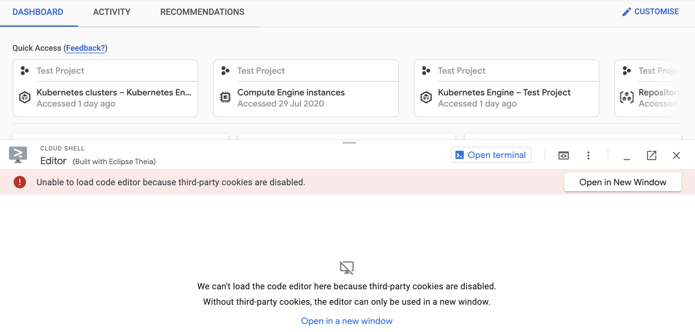 Editor panel explaining that the code editor could not be loaded because of third-party cookie blocking, with link to Open the editor in a new window