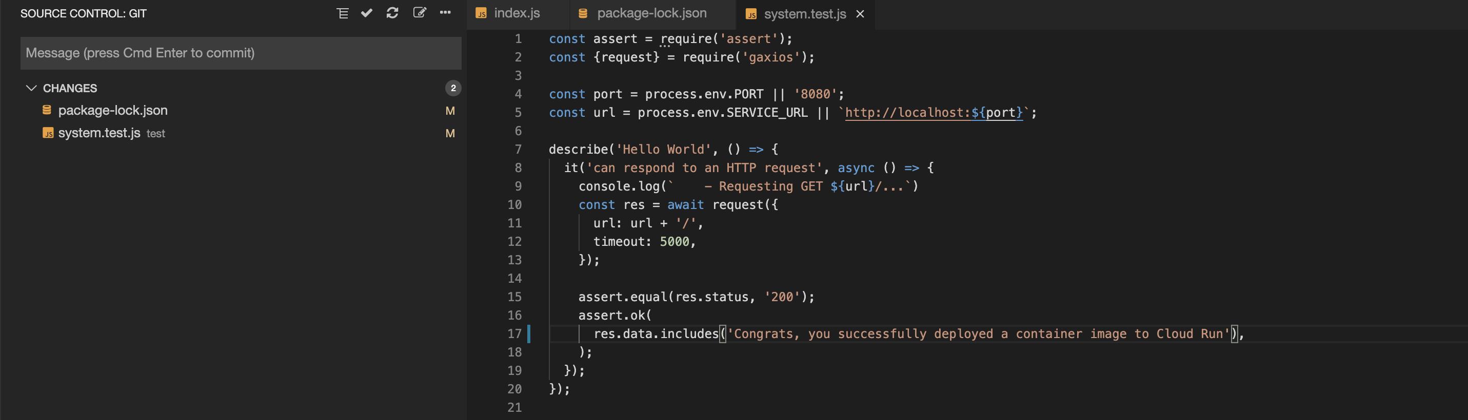 """更改过的文件列在""""源代码控制:Git""""视图下的""""更改""""部分"""