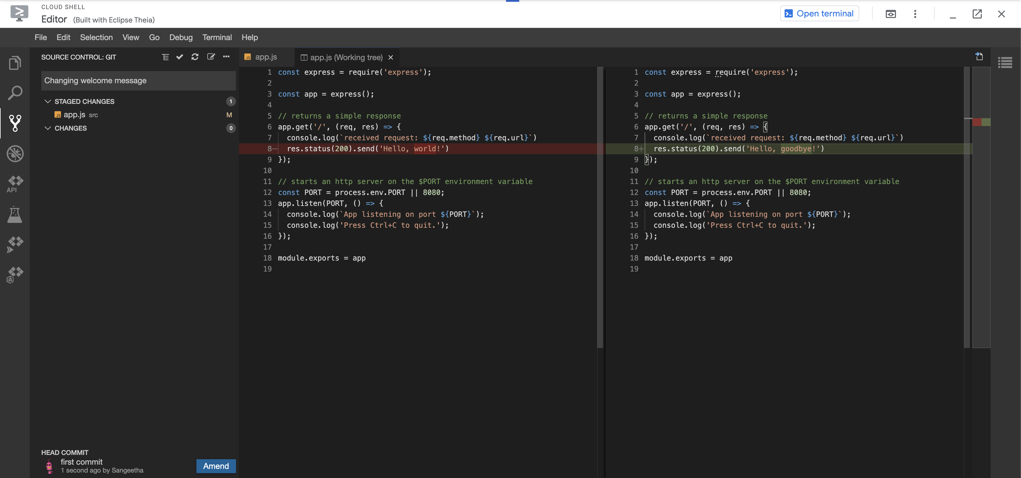 Diff between old app.js and amended app.js with filled in commit message and staged changes visible in the tree view