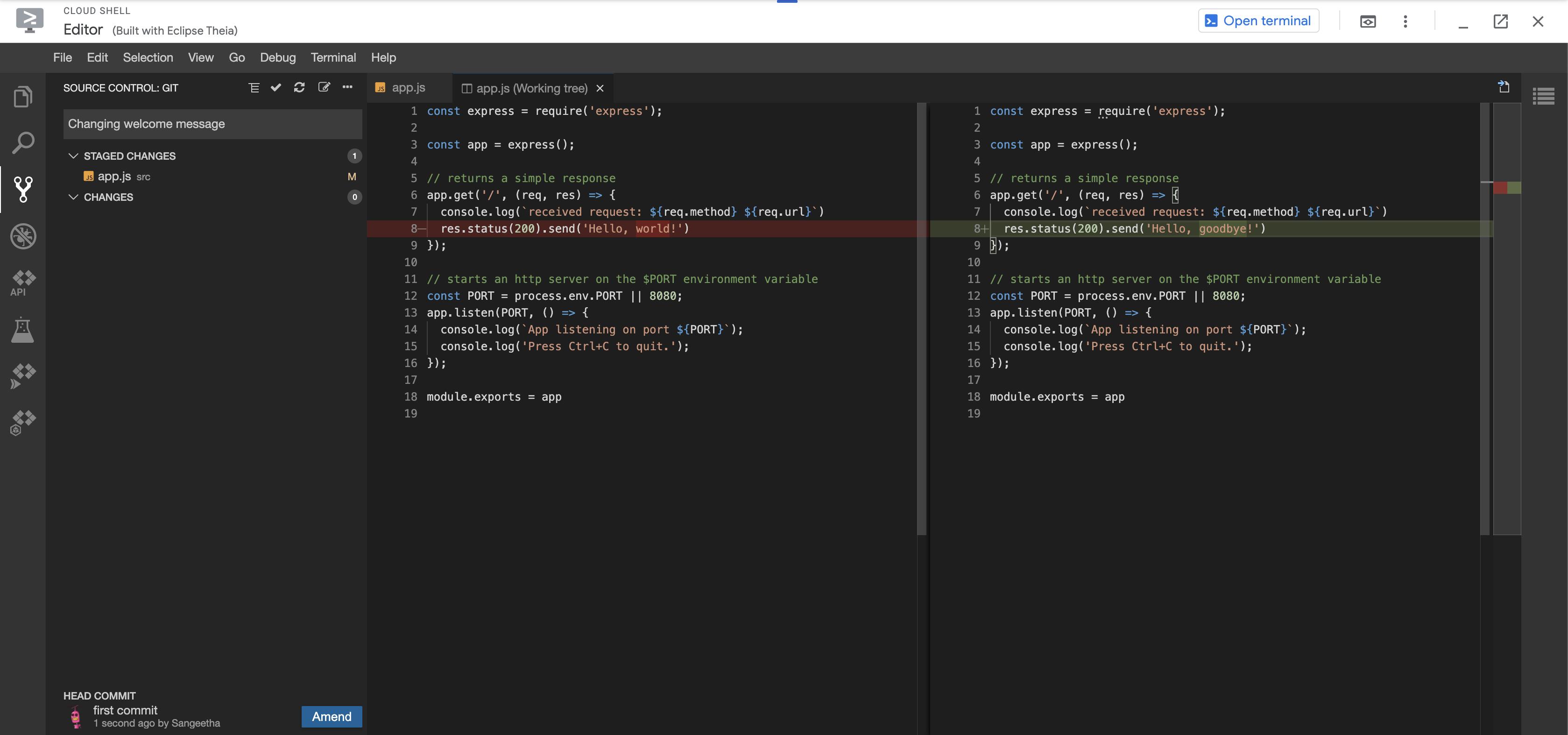 古い app.js と修正済み app.js の相違を示す commit メッセージと、ツリービューに表示される段階的な変更