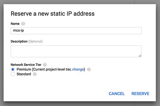 新しい静的 IP アドレスの作成