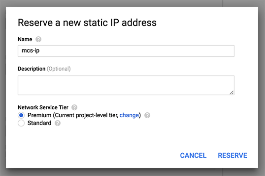 Create a new static IP address