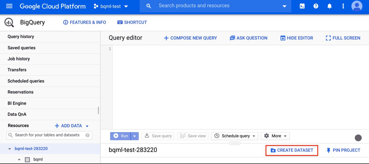"""Affiche l'emplacement du bouton """"Create Dataset"""" (Créer un ensemble de données)"""
