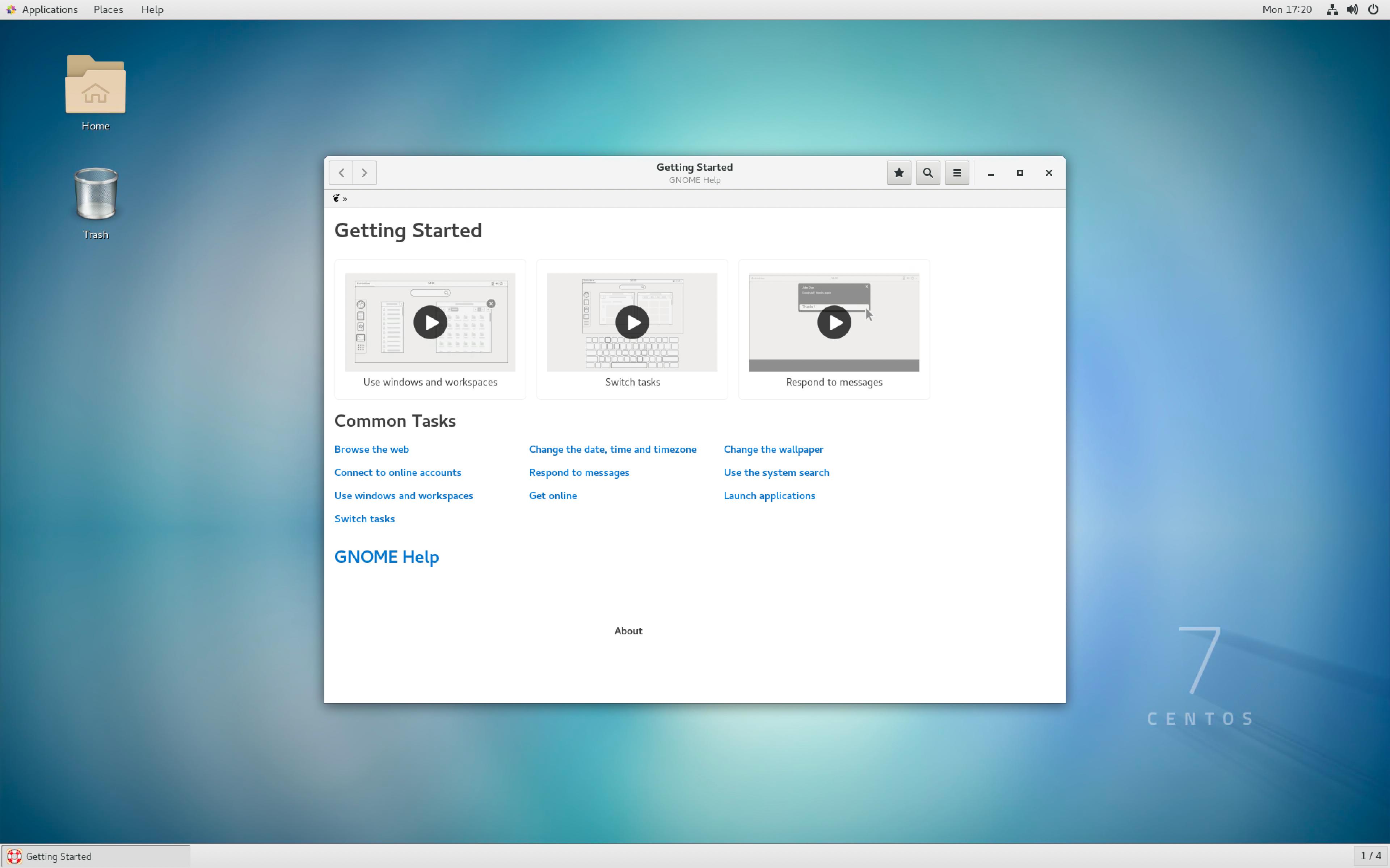 Linux desktop in the virtual workstation.