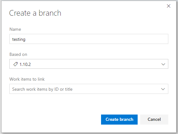 Screenshot of the 'Create a branch' dialog box in Azure Pipelines