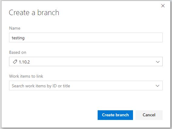 Azure Pipelines の [Create a branch] ダイアログ ボックスのスクリーンショット