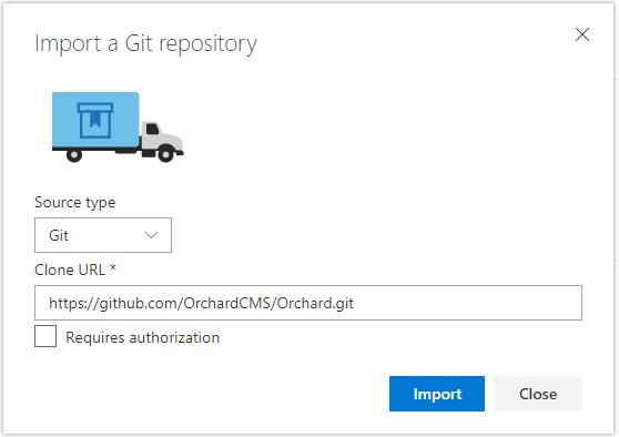 [Import a Git repository] ダイアログ ボックスのスクリーンショット