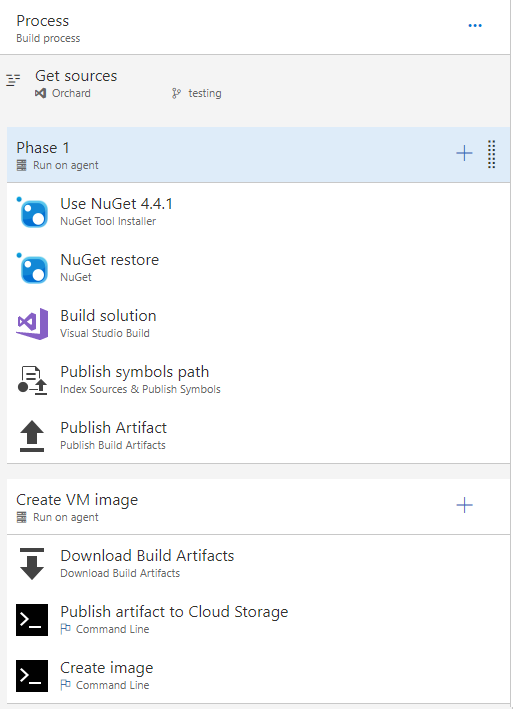 Screenshot of the 'Phase 1' build tasks in VSTS